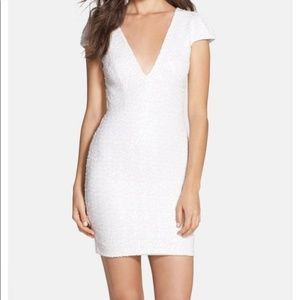 Dress the population white sequins dress